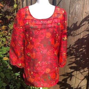LOFT Shades of Red Blouse. Size XL     D132